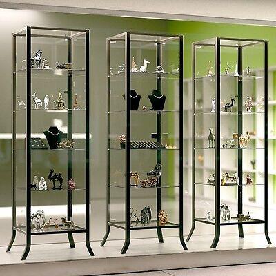 Modern Gl Curio Cabinet Display Case Metal Frame Door Fixture Shelves 2