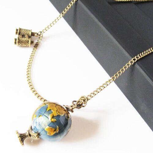 Retro Globus Halskette Planet Erde Weltkarte Kunst Anhänger Kugelkette Neu #SJ
