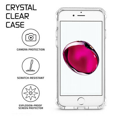 For iPhone 6S 7 8 Plus X XS XR 11- Clear Case Soft TPU Bumper Cover ShockProof 2