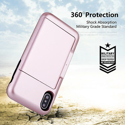 Fits iPhone X/8/7/Plus Case Protective Wallet ID Credit Card Holder Shockproof