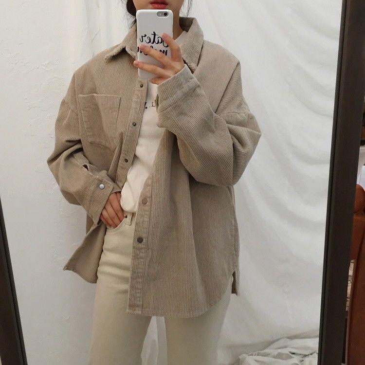 Details zu Damen Cord Hemd Vintage Freizeit Knöpfe BLUSE T Shirt Mantel Retro Jacke