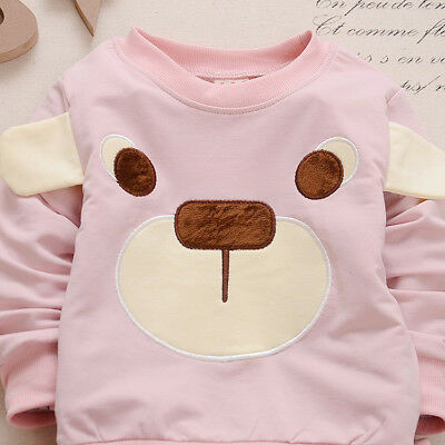 baby boys girls outfits tracksuit pullover top+pants Kids boy clothes set  bear 9