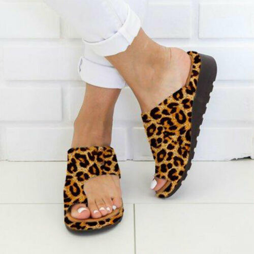 Womens Comfy Flat shoes Sandals Shoes Slipper - PU LEATHER - Bunion Corrector 6