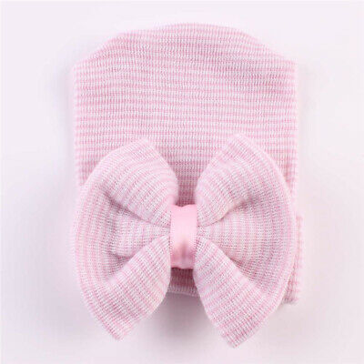 Baby Girls Infant Striped Soft Hat with Bow Cap Hospital Newborn Boy Beanie Hats 5