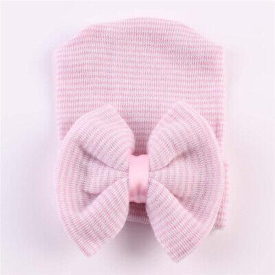 Girl Baby Infant Striped Soft Hat Soft Bow Cap Hospital Newborn Beanie Hats Pink 3