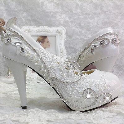 965427d8fbc8d 2016 HEELS white ivory lace Wedding shoes Bridal heels women hight pumps  size