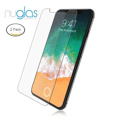 2 x GENUINE NUGLAS Tempered Glass Screen Protector For Apple iPhone X 7