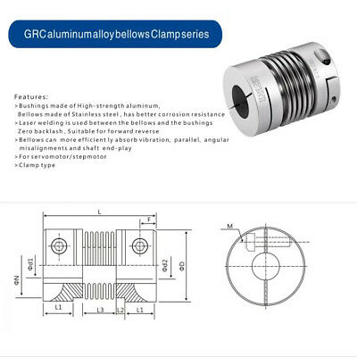 GRC Bellows Coupling elasticity High torque Stepping servo motor coupling D40L55 6