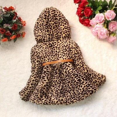 Toddler Kids Baby Girls Warm outerwear leopard print coat Newborn Winter Clothes 3
