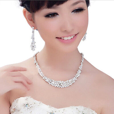 Silver Women Bridal Bridesmaid Wedding Jewelry Sets Necklace Earrings Set Gifts 8