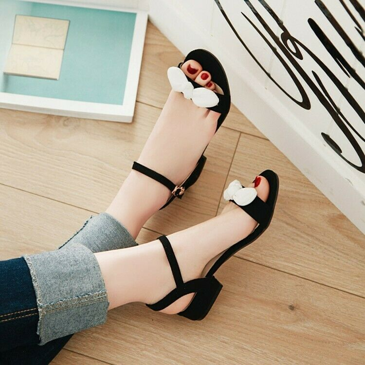 Details about  /35//42 Women Summer Sandals Peep Toe Backless Bowknot Striped Pattern Slippers B