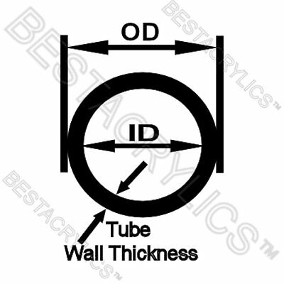 "CLEAR 7//8/"" DIAMETER THIN WALL 3//4/"" ID 18/"" LONG ACRYLIC PLEXIGLASS LUCITE TUBE"