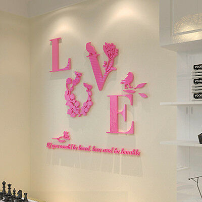 LOVE MIRROR Quote Removable 3D Wall Sticker Decal Living Room Home ...