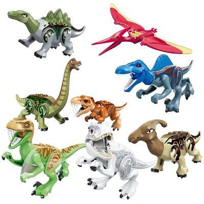 8Pcs Kids Jurassic Park World Dinosaur Mini figure Building Blocks Toys Fit Lego 2
