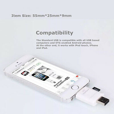 pretty nice b7662 32399 I-FLASH DRIVE HD USB MicroSD TF Card Reader Adapter For iPhone 6s Plus 6 5C  5S