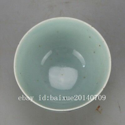 """Chinese old hand-carved porcelain red glaze """"喜""""Word pattern Kung fu tea cup 3"""
