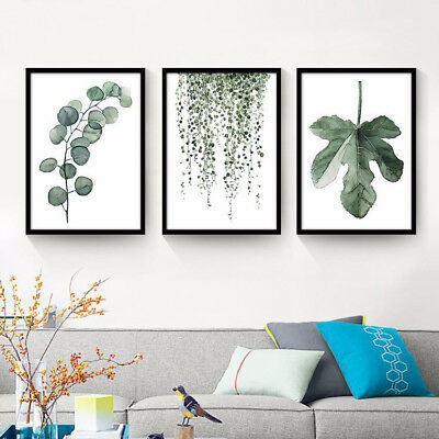 Tropical Plants Leaves Canvas Vintage Poster Wall Art Prints Modern Home Decor 5