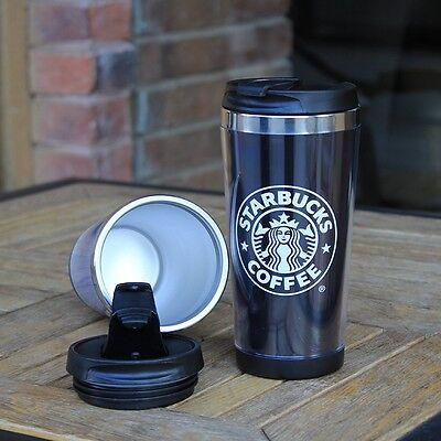 new starbucks double wall coffee mug tumbler stainless steel travel cups 14oz picclick uk. Black Bedroom Furniture Sets. Home Design Ideas