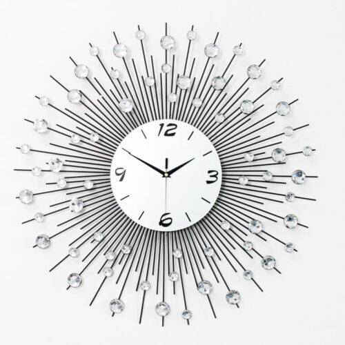 modern diy crystal jeweled beaded sunburst wall clock