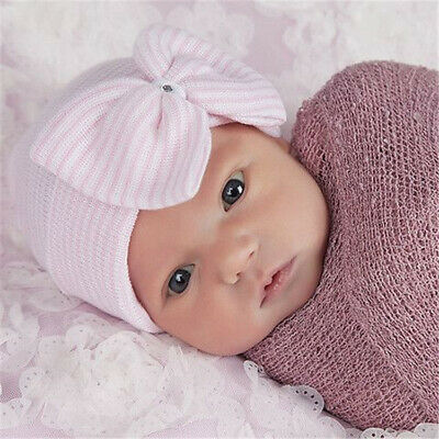 Baby Girls Infant Striped Soft Hat with Bow Cap Hospital Newborn Boy Beanie Hats 3
