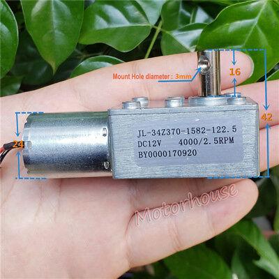 Micro DC 12V 2.5RPM Slow Speed High Torque Metal Turbo Worm Gear Motor Reducer 4