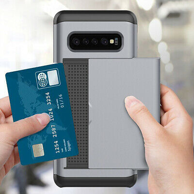 Galaxy S10 S10e S9 S8 Plus Note9 Case Slide Armor Wallet Card Slots Holder Cover 7