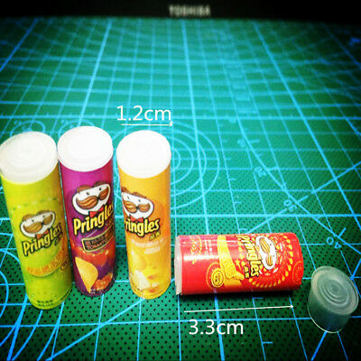 4pcs Dollhouse Miniature Chips Potato Food Grocery Snack Jars Accessory Re-ment 12