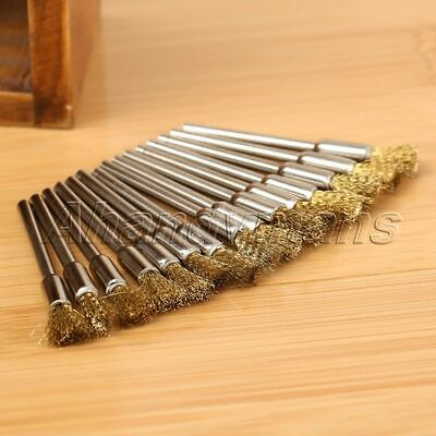 15pcs 5mm Brass Wire Brushes Wheel For Grinder Drill Rust Weld Power Rotary Tool 7
