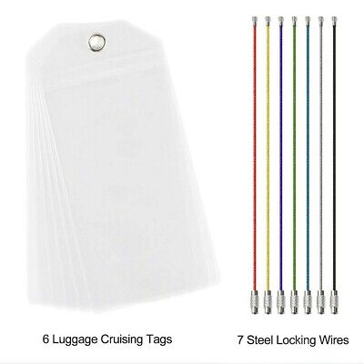 6X NEW *REUSABLE* Cruise Luggage Tag/eTag Holder *THICK PVC Zip Seal,Steel Loop 2