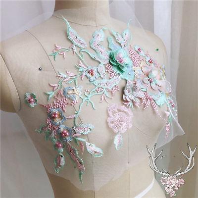 3D Blume Stickerei Spitze Braut Applique Perlen Pearl Tüll DIY Brautkleid 3