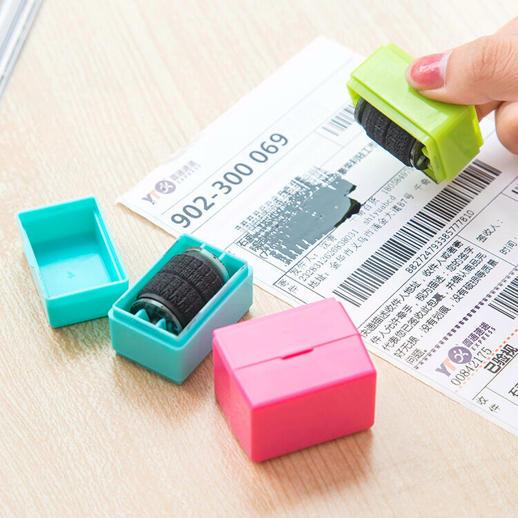 1Pcs Guard Your ID Roller Stamp SelfInking Stamp Messy Code Security Office Tool