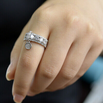 Gorgeous Round White Sapphire Engagement Ring 925 Silver Wedding Jewelry Sz4-12 9