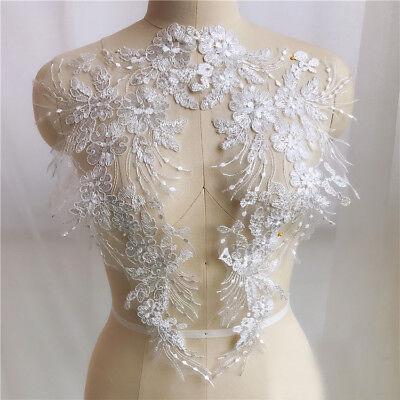 1 Pair Lace Applique Embroidery  Trim  Sewing Motif  DIY Wedding Bridal Crafts 4
