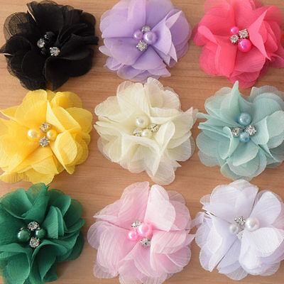 DIY Chiffon Fabric Flower with Pearls and bling Rhinestone Embellishment Craft 10