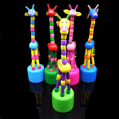 Wooden Gift Cute Kid Intellectual Early Educational Learning Animal Giraffe Toys 3