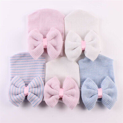 Baby Girls Infant Striped Soft Hat with Bow Cap Hospital Newborn Boy Beanie Hats 4