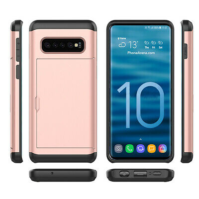 Galaxy S10 S10e S9 S8 Plus Note9 Case Slide Armor Wallet Card Slots Holder Cover 6