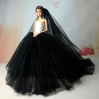 "Black Party Dress For 11.5"" Doll Clothes Long Tail Evening Gown Clothes & Veil 3"