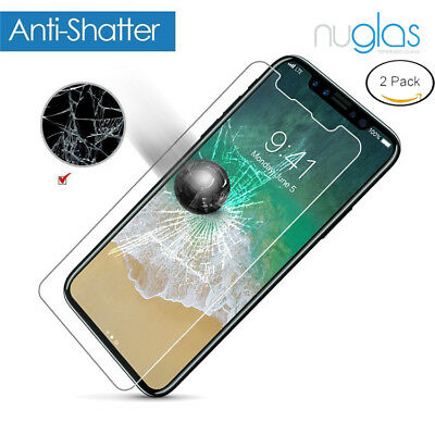 2 x GENUINE NUGLAS Tempered Glass Screen Protector For Apple iPhone X 8