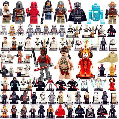 star wars Yoda Darth Vader Luke Rey minifigures C-3PO Boba Fett Mandalorian Toys 4
