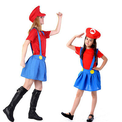 Men Adult Kids Women's Super Mario and Luigi Fancy Dress Cosplay Costume Outfit. 6