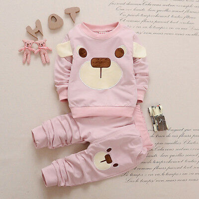 baby boys girls outfits tracksuit pullover top+pants Kids boy clothes set  bear 8