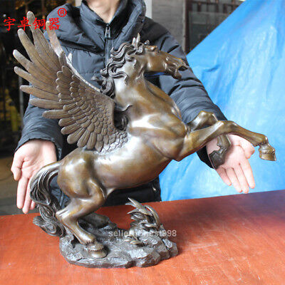 """20"""" Chinese Fengshui Flying horse Pegasus Pure Bronze art Sculpture Statue 5"""