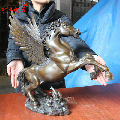 """20"""" Chinese Fengshui Flying horse Pegasus Pure Bronze art Sculpture Statue 6"""
