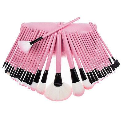 32pc Purple Professional Soft Cosmetic Eyebrow Shadow Makeup Brush Set +Bag Case 5