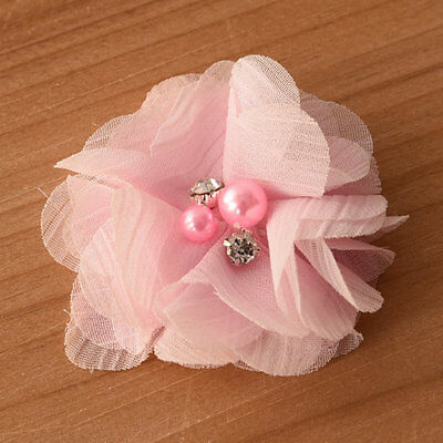 DIY Chiffon Fabric Flower with Pearls and bling Rhinestone Embellishment Craft 12