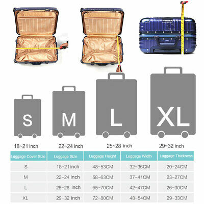 """Elastic Printed Luggage Suitcase Skin Cover Protector 18 -32"""" Thick Anti Scratch 12"""