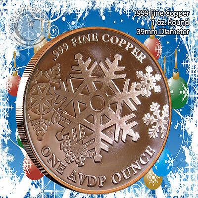 SANTA 1 oz .999 Copper Christmas TREE Back-Beautiful 20 Christmas Rounds