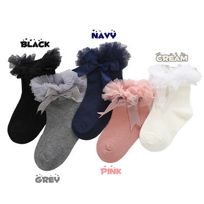 Girls Toddlers Kids Children Pretty Tutu Bow Ankle Wedding Party Socks 2-8 years 2