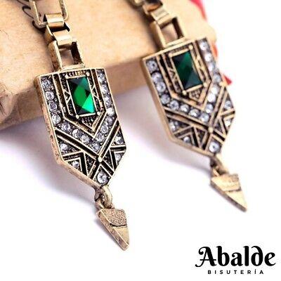 1c42f6558785 ... 2 disponibles Pendientes Aretes Mujer Joya Barroco Moda Vintage Verde  Complemento Regalo ideal 11